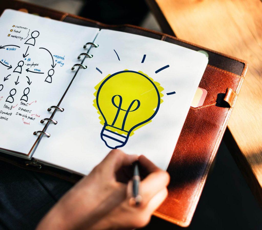 inteligência emocional: Lâmpada amarela sendo desenhada por uma mão em um caderno