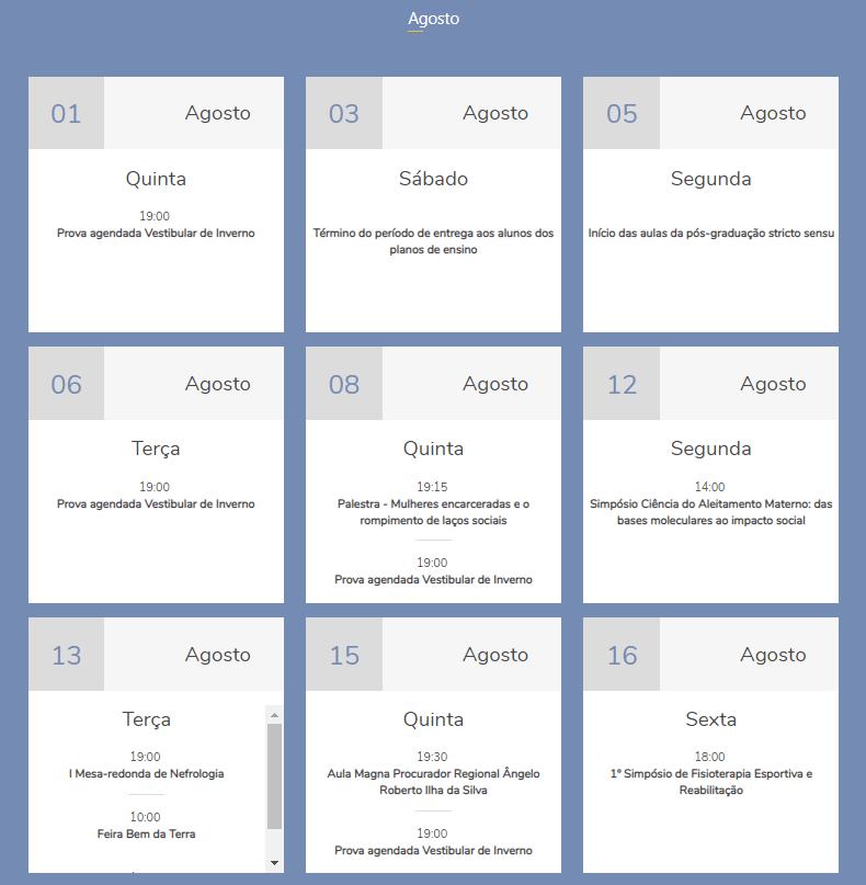 captura tela site ucpel calendário