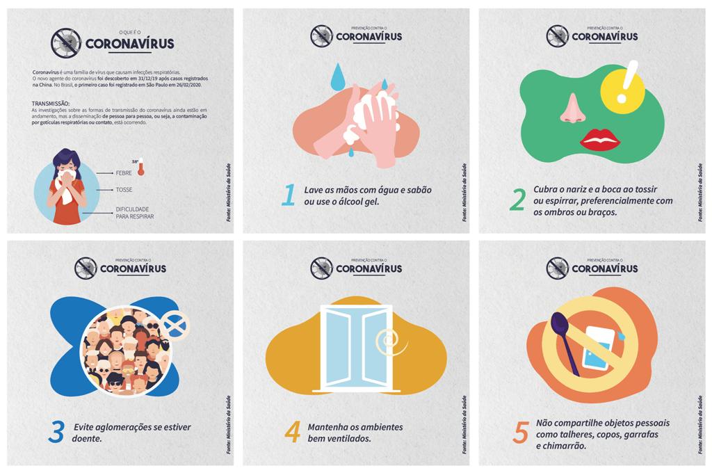 Arte com dicas de prevenção ao coronavírus produzida pelo setor de Comunicação e Relacionamento da UCPel